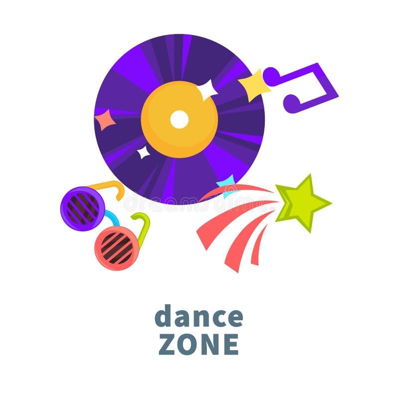 Symboler för vektor för klubba för nattparti- eller dansmusik för och födelsedagferieberöm av disketten och exponeringsglas stock illustrationer