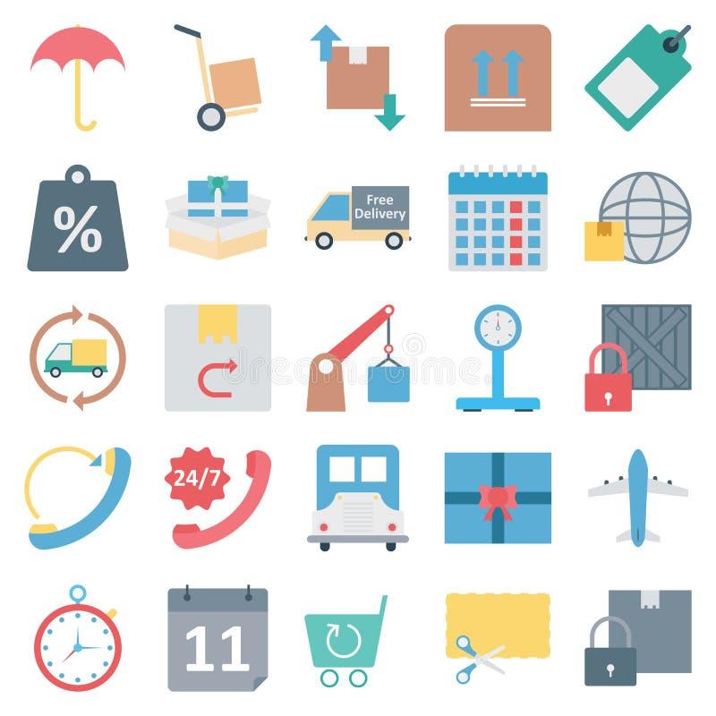 Symboler för vektor för logistikleverans färg isolerade vektor illustrationer