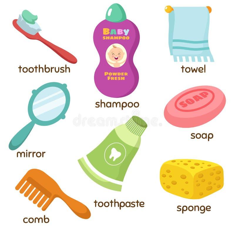 Symboler för vektor för ordlista för tecknad filmbadrumtillbehör Spegel, handduk, svamp, tandborste och tvål royaltyfri illustrationer