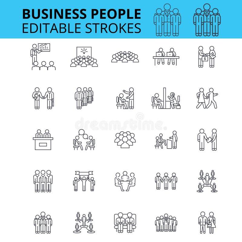 Symboler för vektor för ouline för affärsfolk Redigerbara slaglängder Grupp av uppsättningen för tecken för affärsfolk Affärslagb stock illustrationer