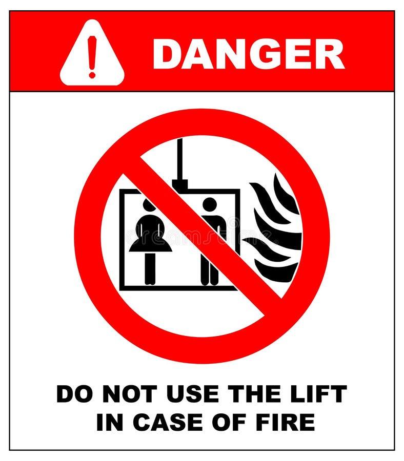 Symboler för vektorbrandnödläge Använd inte elevatorn i fall att av brand royaltyfri illustrationer