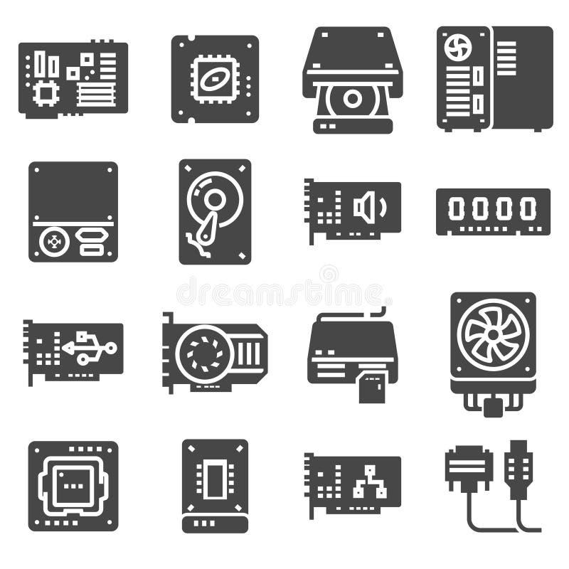 Symboler för vektordatormaskinvara PCdeluppsättning stock illustrationer
