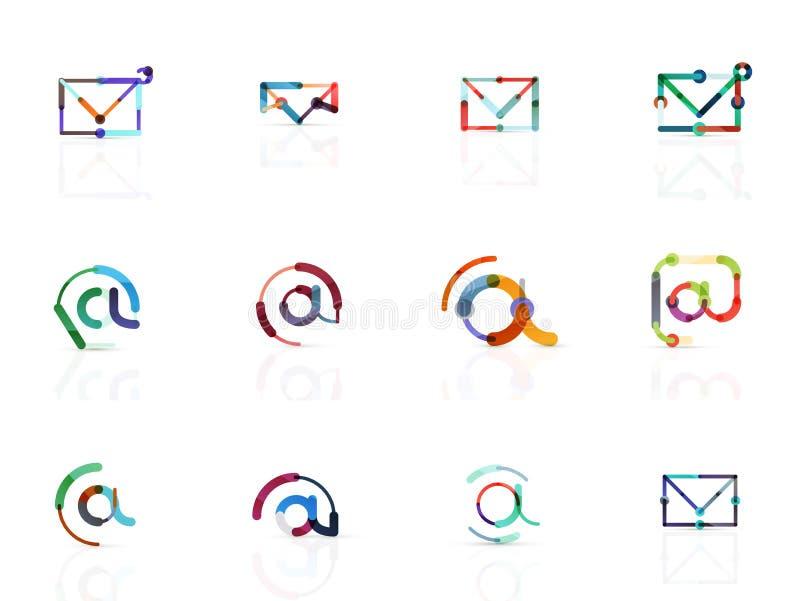 Symboler för vektoremailaffär eller på teckenlogouppsättningen Linjär minimalistic plan symbolsdesignsamling royaltyfri illustrationer