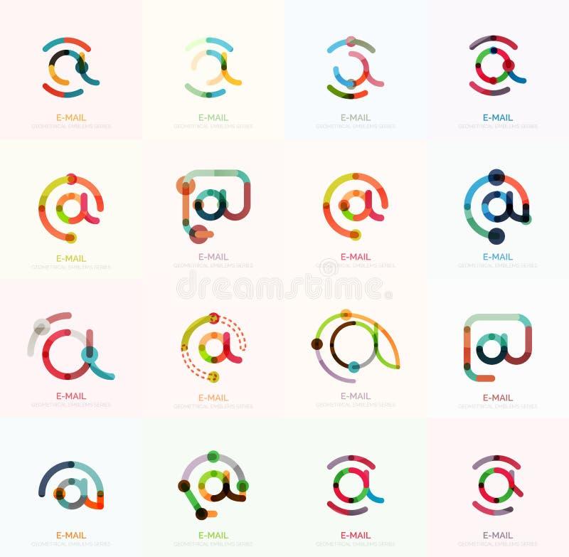 Symboler för vektoremailaffär eller på teckenlogouppsättningen Linjär minimalistic plan symbolsdesignsamling stock illustrationer
