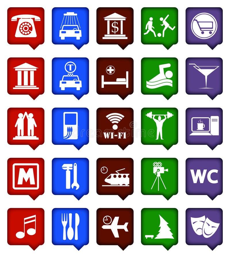 Symboler för vektorfärgnavigering stock illustrationer