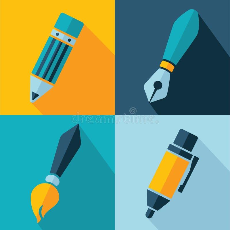 Symboler för vektorkontorsuppsättning stock illustrationer