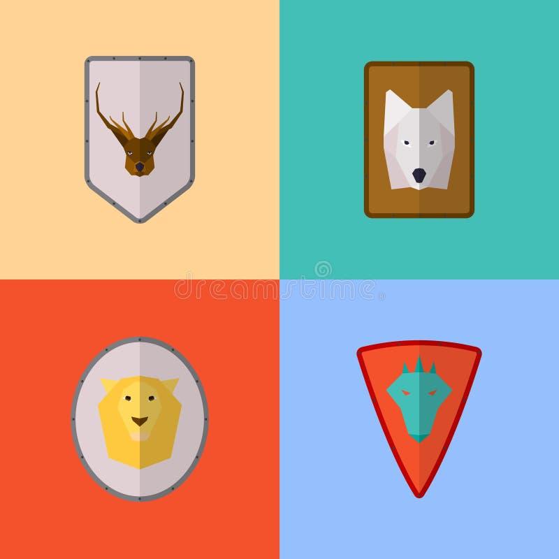 Symboler för vektorlägenhetlek vektor illustrationer