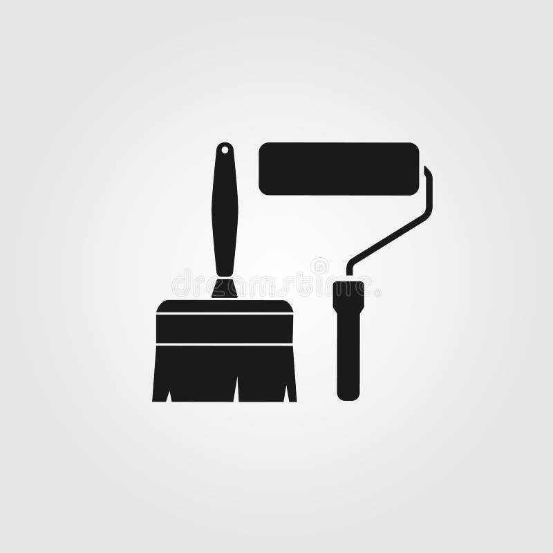Symboler för för vektormålarfärgborste och rulle royaltyfri illustrationer