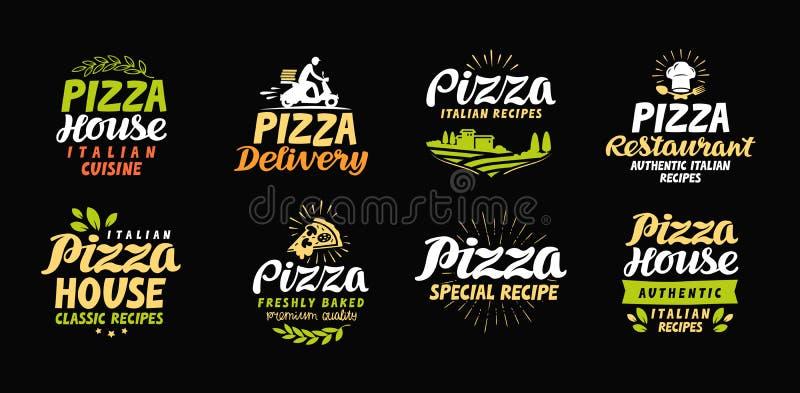 Symboler för vektorpizzauppsättning, etiketter, symboler, tecken, designbeståndsdelar stock illustrationer