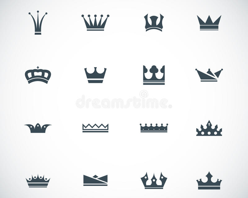 Symboler för vektorsvartkrona royaltyfri illustrationer