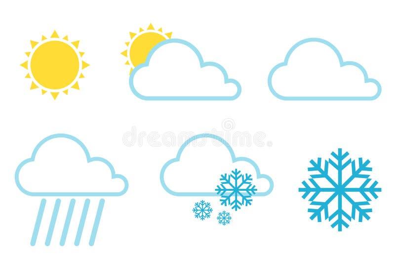 Symboler för vektorväderprognos Vädersymboler ställde in enkla plana symboler för färg isolerade på vit bakgrund också vektor för stock illustrationer