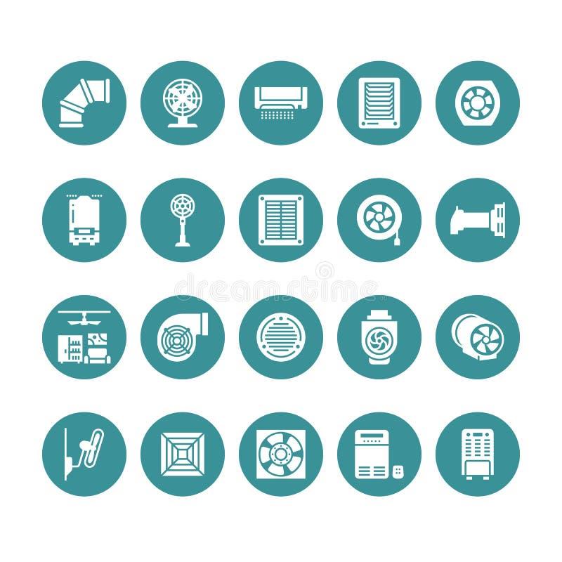 Symboler för ventilationsutrustningskåra Lufta att betinga som kyler anordningar, avgasrörfanen Hushåll och industriellt royaltyfri illustrationer