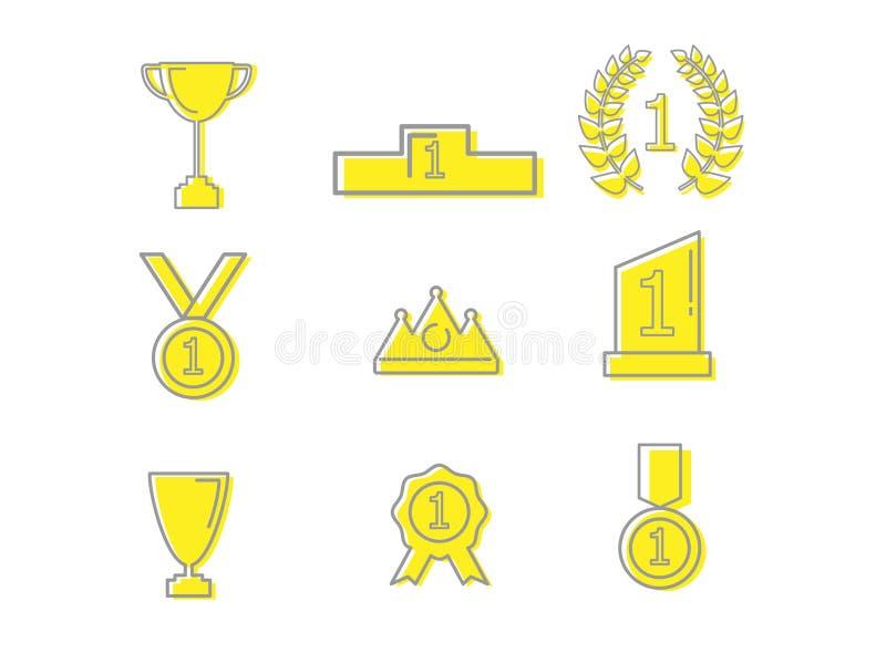 Symboler för vinnarepris- och utmärkelseöversikt stock illustrationer