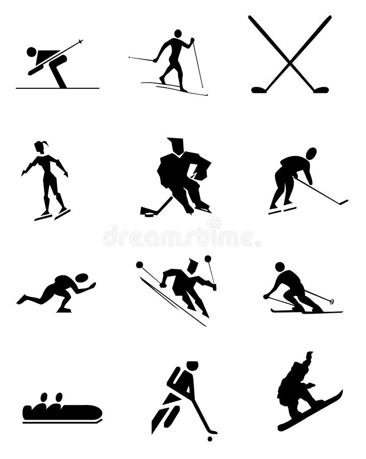 Symboler för vintersport royaltyfri illustrationer