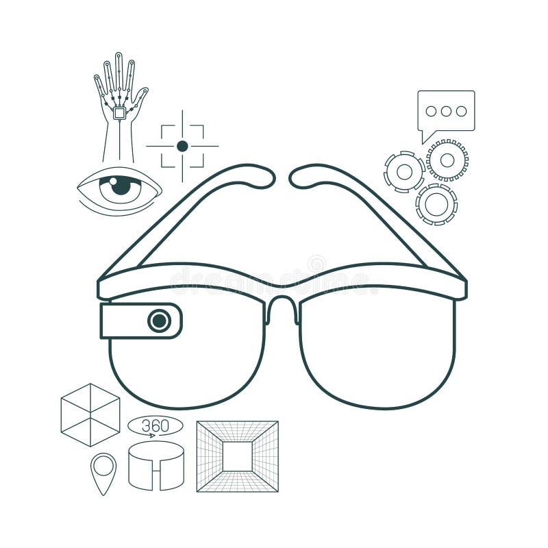 Symboler för virtuell verklighetteknologiuppsättning vektor illustrationer