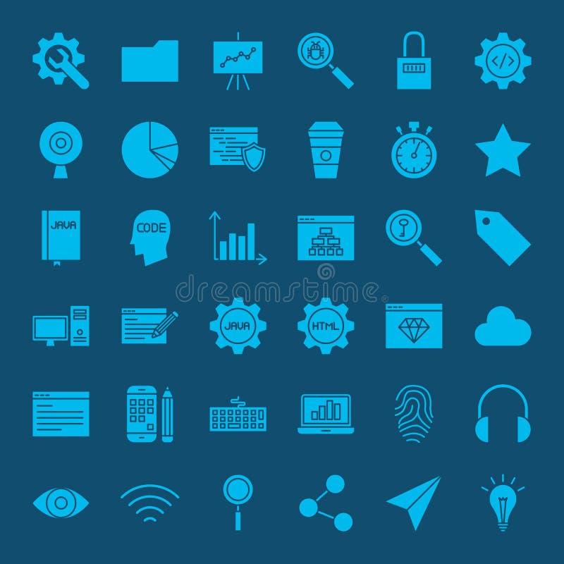 Symboler för Websiteutvecklingsskåror royaltyfri illustrationer