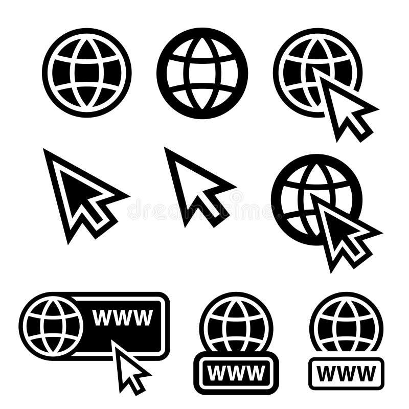 Symboler för world wide webjordklotmarkör stock illustrationer
