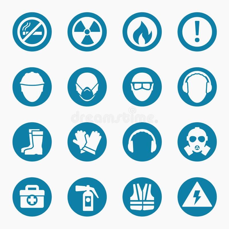 Symboler för yrkes- hälsa och säkerhetstecken royaltyfri illustrationer