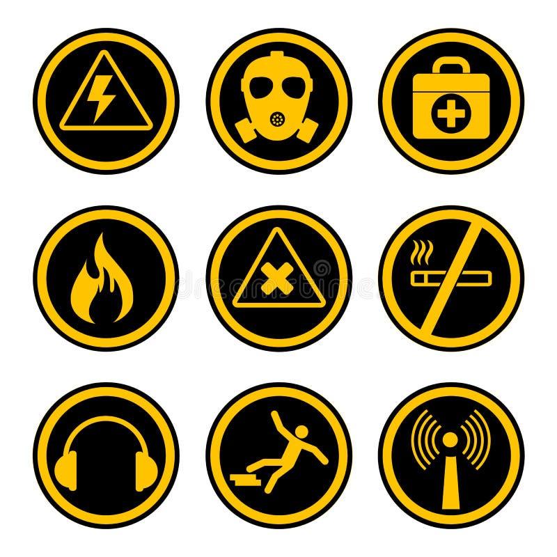 Symboler för yrkes- säkerhet och hälso royaltyfri illustrationer