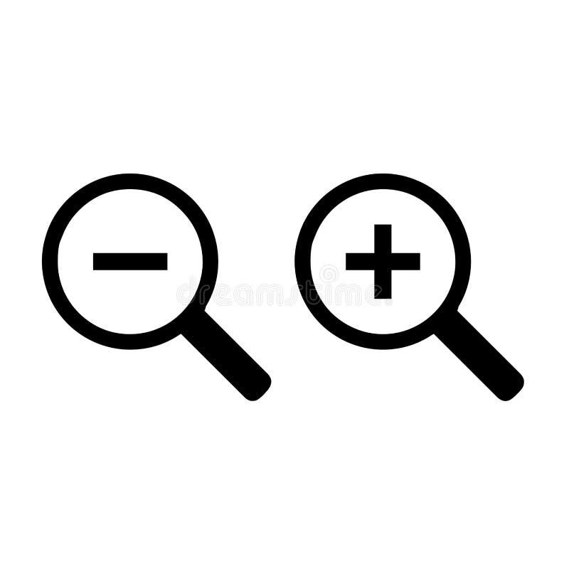 Symboler för zoom in och ut royaltyfri illustrationer