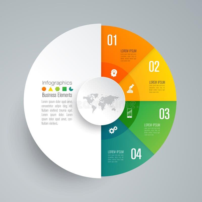 Symboler f?r f?r Infographics designvektor och aff?r med 4 alternativ vektor illustrationer