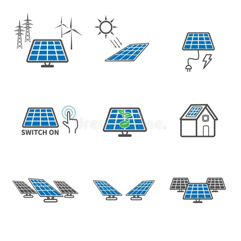 Symboler f?r sol- cell kulaecoelkraften lines str?m Upps?ttning f?r illustrationvektorsamling Tecken- och symboltema royaltyfri illustrationer