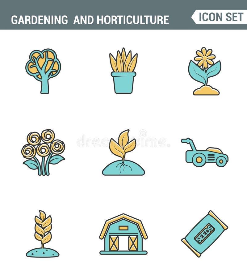 Symboler fodrar fastställd högvärdig kvalitet av att arbeta i trädgården, och trädgårdsnäringfrö blommar blom- flora Modern desig stock illustrationer