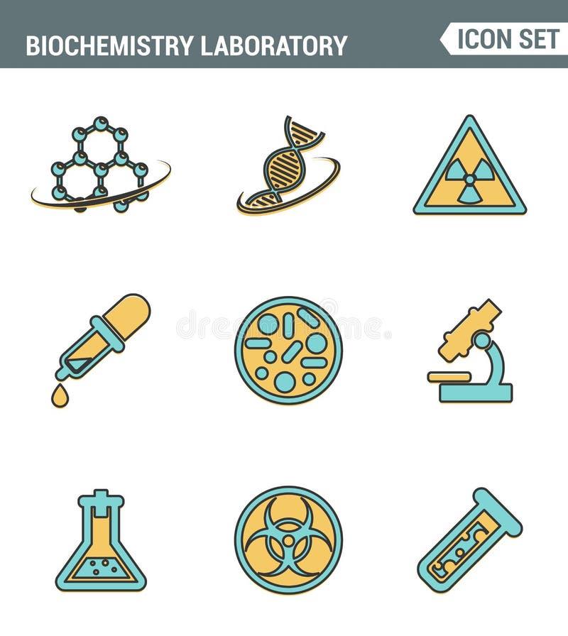 Symboler fodrar fastställd högvärdig kvalitet av biokemiforskning, biologilaboration Modern design för pictogramsamlingslägenhet royaltyfri illustrationer