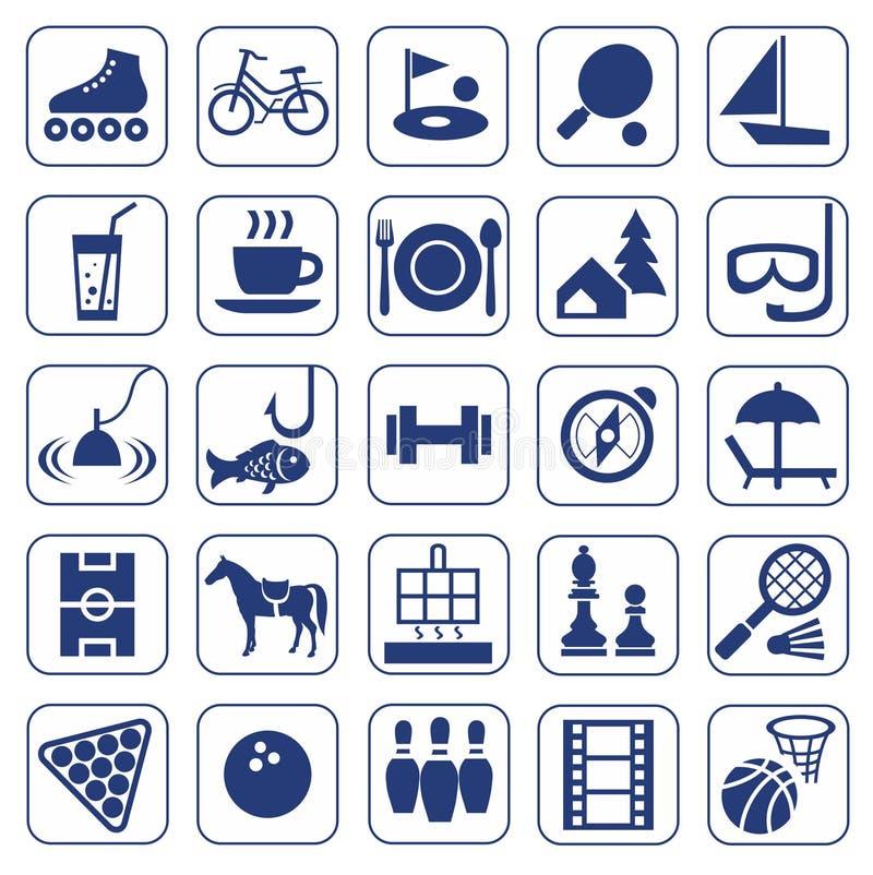 Symboler fritid, underhållning, fritid, hobbyer, monokrom, lägenhet stock illustrationer