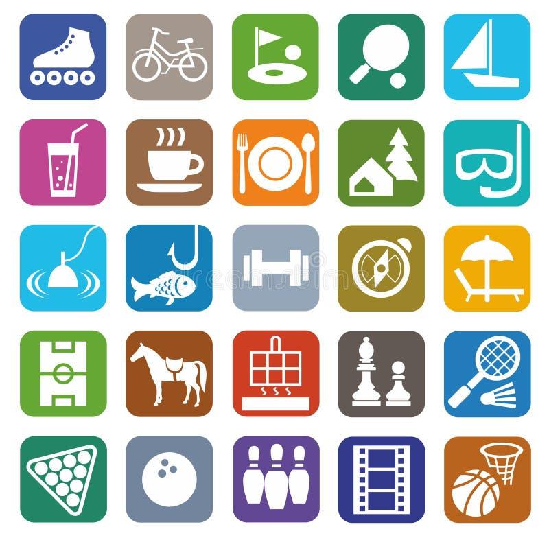 Symboler fritid, underhållning, turism, färg, lägenhet royaltyfri illustrationer