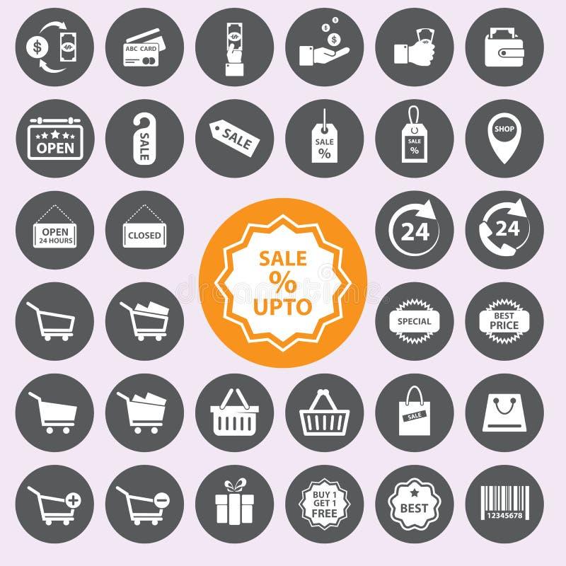 symboler inställd shopping Vector/EPS10 royaltyfri illustrationer