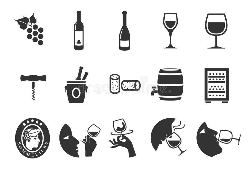 symboler inställd wine stock illustrationer