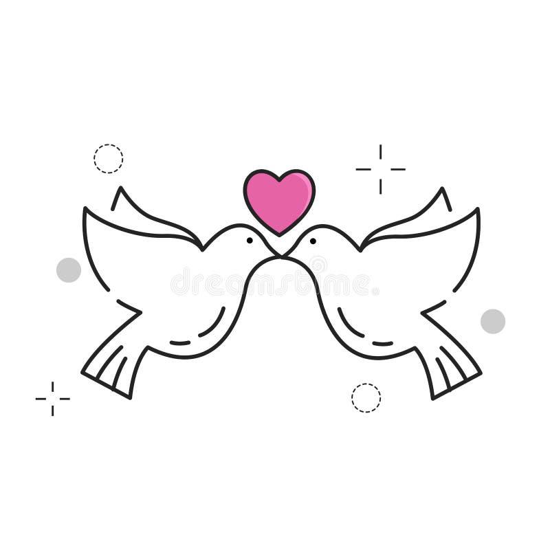 symboler inställt bröllop stock illustrationer