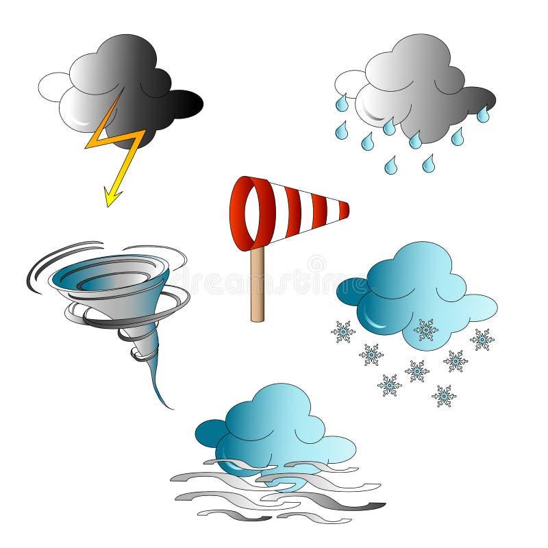 symboler inställt väder royaltyfri illustrationer