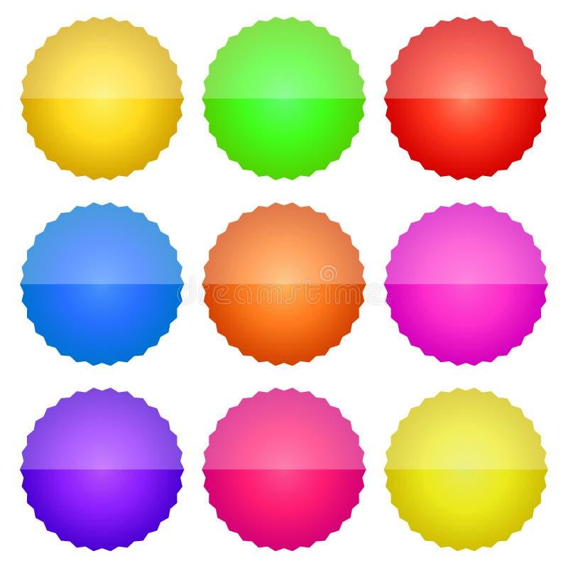 Symboler knäppas vektoreps-färger stock illustrationer