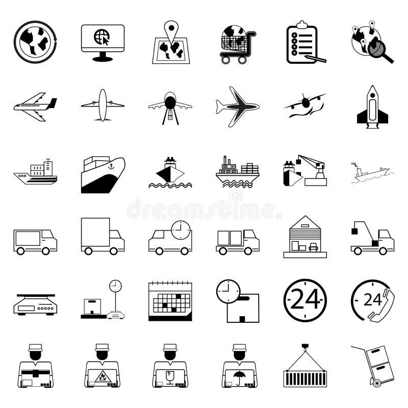 36 symboler Leveransshopping och Ecommercelogistikuppsättning av outli royaltyfri illustrationer