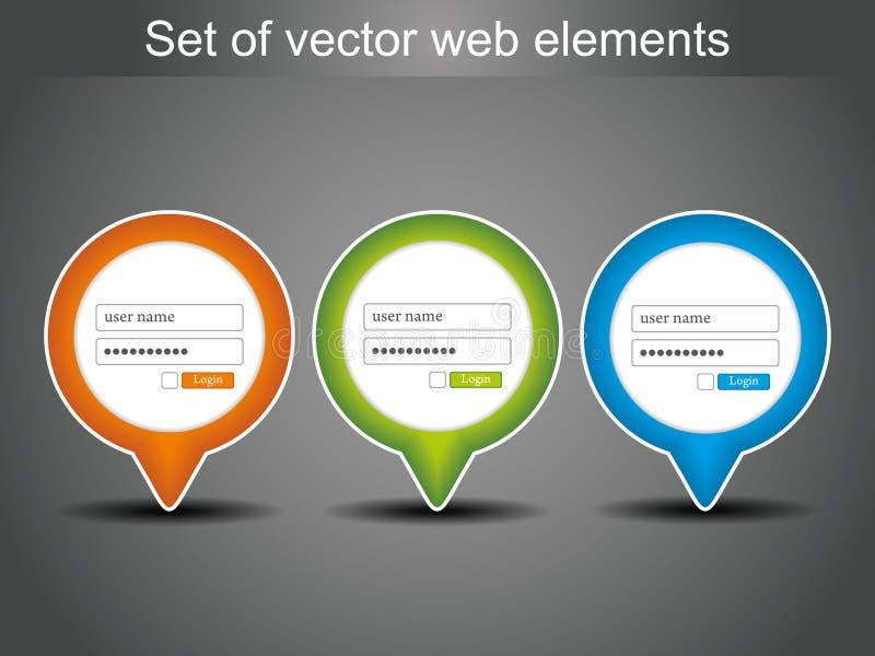 symboler loggar in den set vektorn vektor illustrationer
