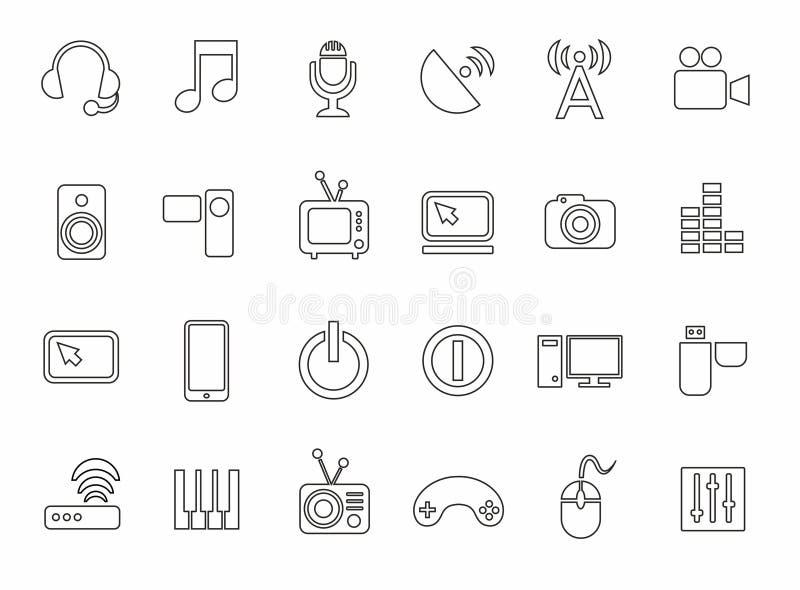 Symboler massmedia, dator, video, musik, kommunikationer, telefon, kontur, monokrom stock illustrationer