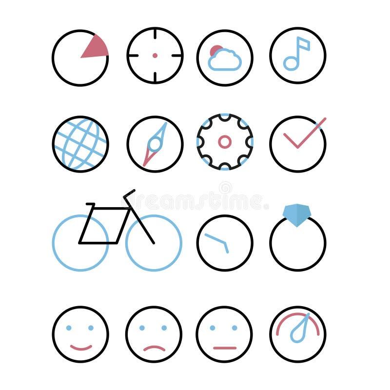 Symboler med beståndsdelen - cirkel Kartlägga, sikta, molnet och solen, musik, jord, kompasset, kuggen, fästingen, cykeln, klocka vektor illustrationer