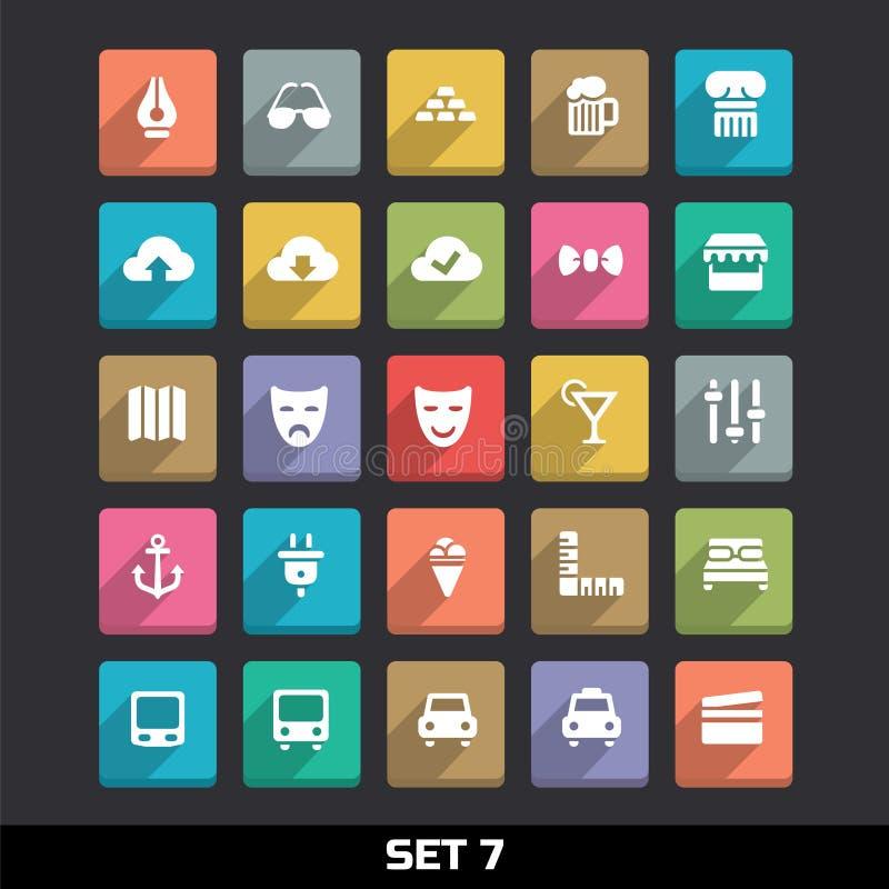 Symboler med lång skuggauppsättning 7 stock illustrationer