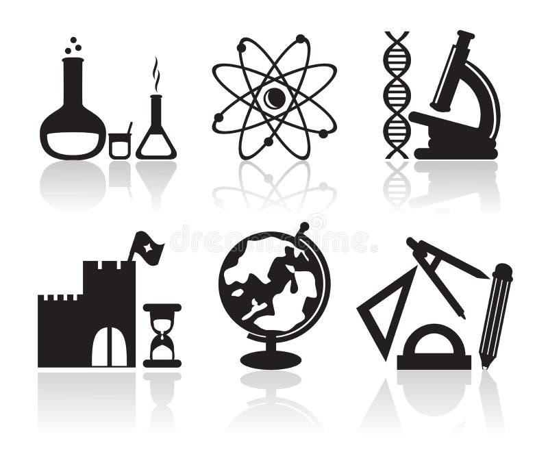 Symboler med skolämnar stock illustrationer