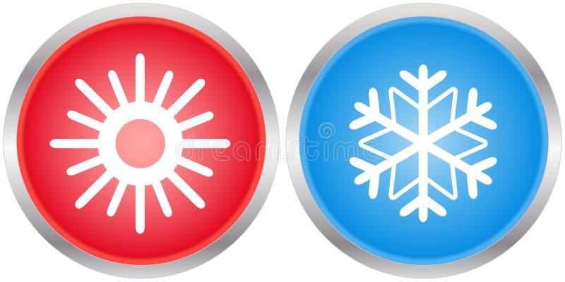 Symboler med solen och snöflingan stock illustrationer