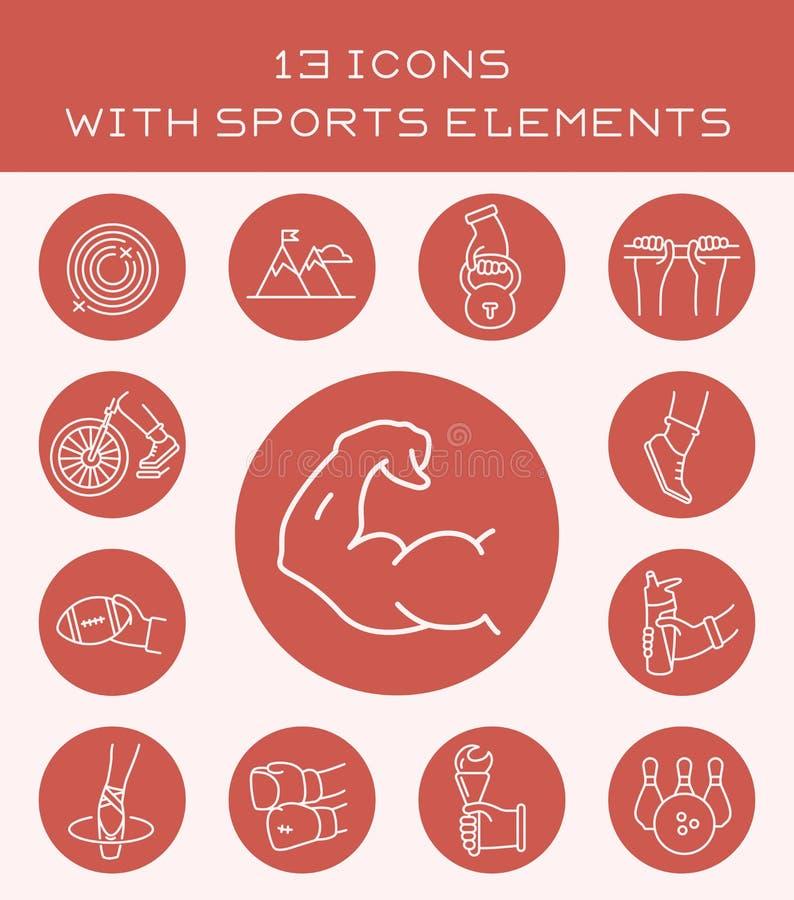 13 symboler med sportbeståndsdelar vektor illustrationer