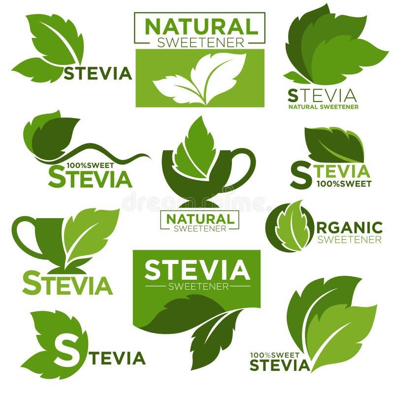 Symboler och etiketter för produkt för vektor för ersättning för Steviasötningsmedelsocker sunda vektor illustrationer