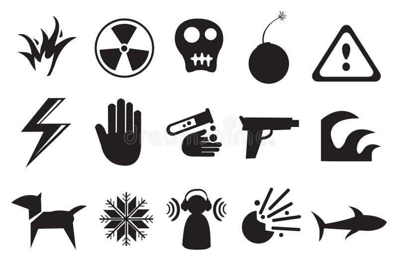 Symboler och symboler för fara stock illustrationer