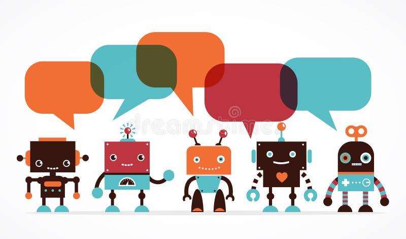 Symboler och tecken för robot gulliga royaltyfri illustrationer