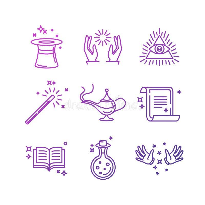 Symboler och tecken för vektor magiska släkta linjära stock illustrationer