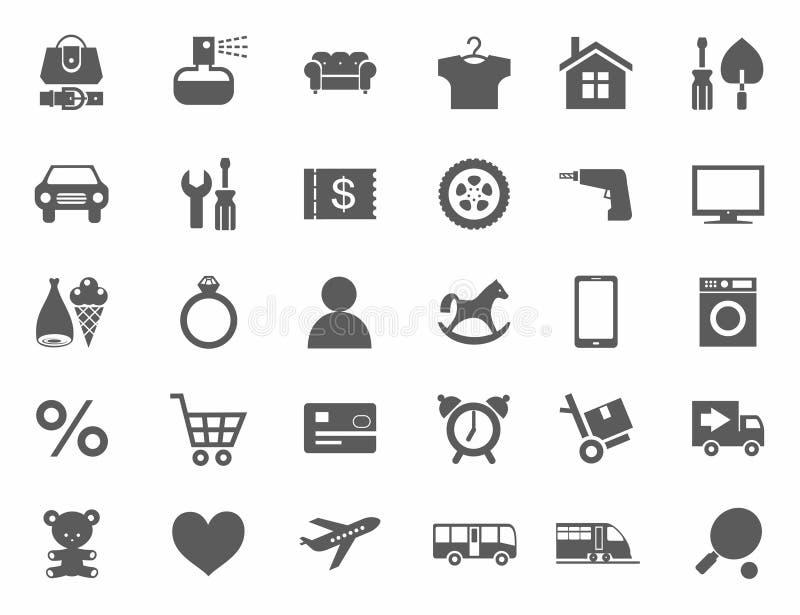 Symboler online-lager, produktkategorier, monokrom, vit bakgrund royaltyfri illustrationer