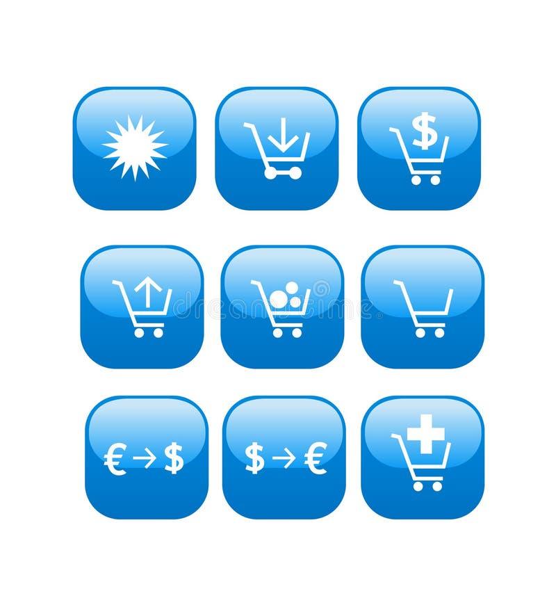 symboler online shoppar lagerrengöringsduk royaltyfri illustrationer