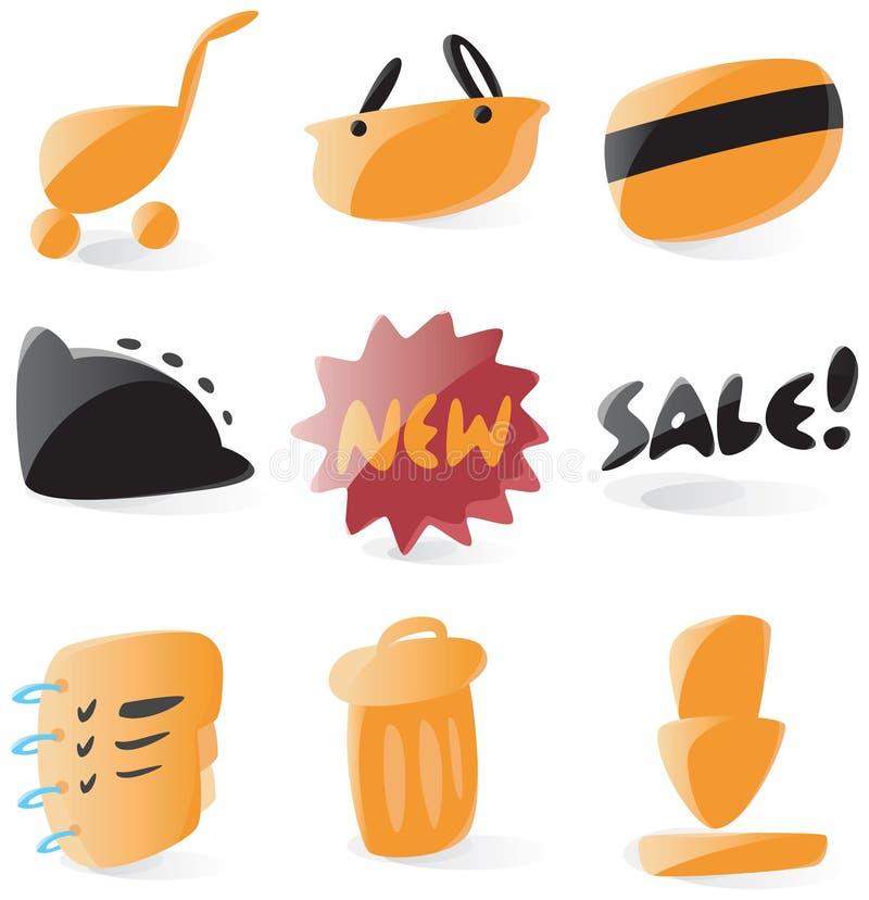 symboler online shoppar slätt royaltyfri illustrationer